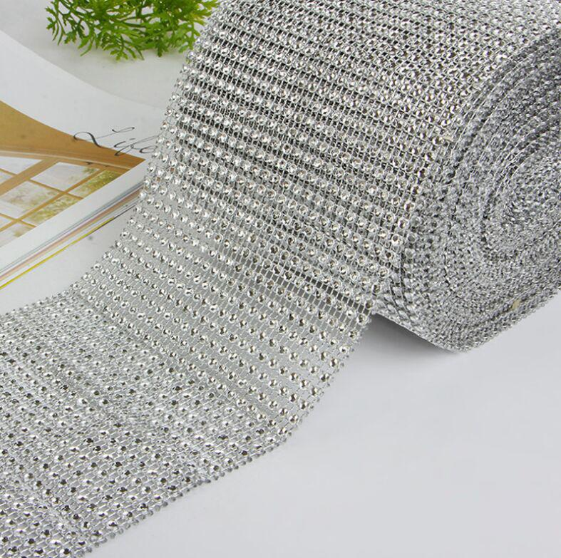 Wedding Decor Gold Silver Diamond Mesh 1 yards Party Decorations Trim Wrap Roll Sparkle Rhinestone Crystal Bling Cake Ribbon