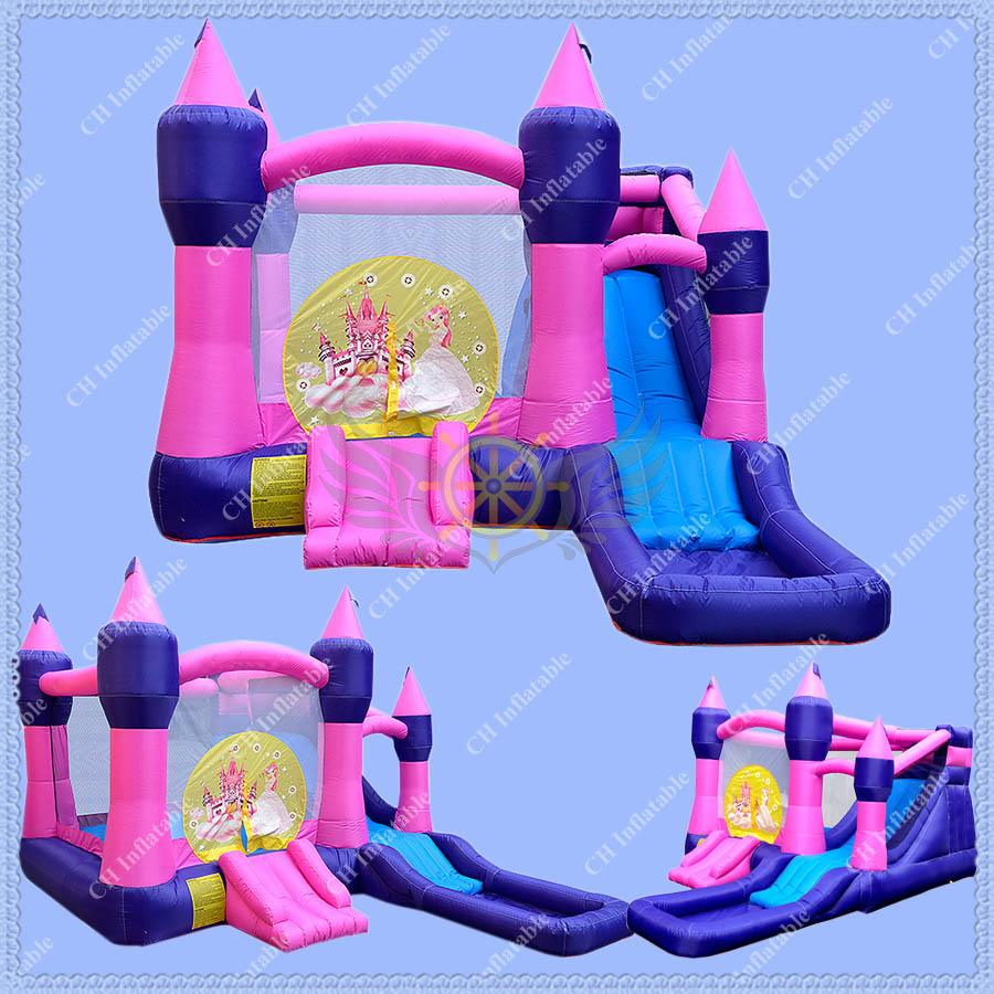 2017 pink inflatable bouncer princess bouncy castle for backyard