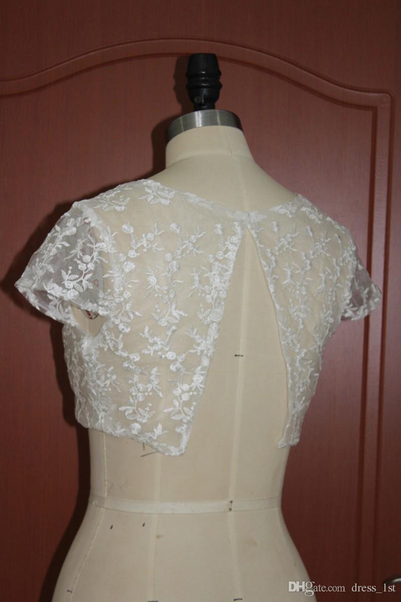 Cheap Lace Short Sleeve Bridal Jackets Bolero 2017 High Quality Wedding Shurg Custom Made China EN120113