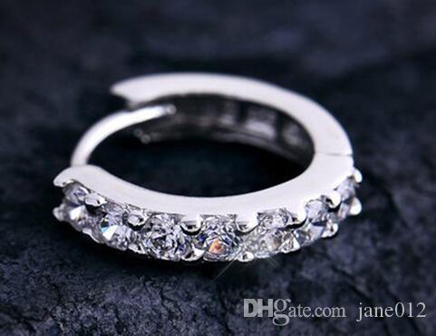 Charms Stud 925 Sterling Silver Hoop Pendientes Blanco Blanco CZ Diamantes Compromiso Cristal Ear Anillos Hermosa Joyería