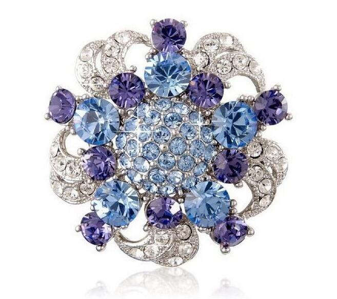 Vintage Style Rhodium Silver Blue and Tanzanite Crystal Flower Brooch Wedding Party Gift Pins