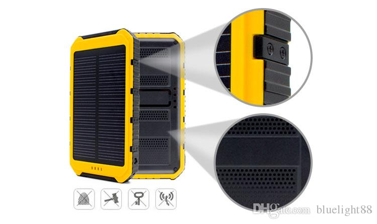 Hot 10000mAh Power Bank Ultra-thin Waterproof Solar Power Banks 2A Output Cell Phone Portable Charger Solar Powerbank