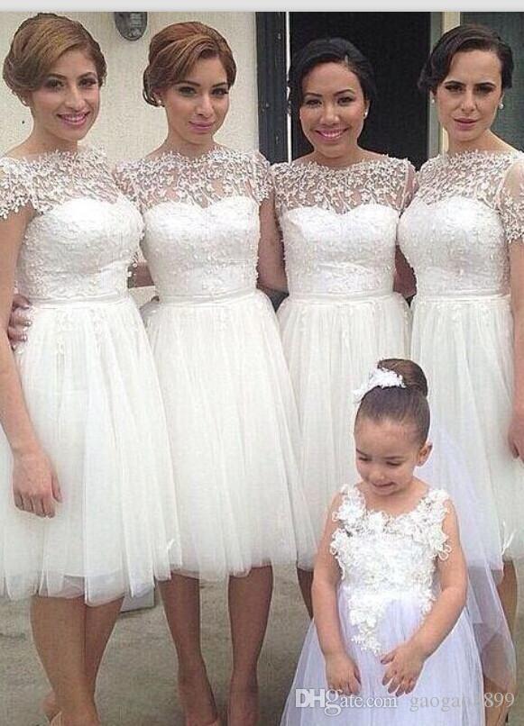 2018 Summer New Designed Bridesmaid Dresses A Line Knee Length With Lace Top  Wedding Guest Dresses Party Evening Gowns Pale Pink Bridesmaid Dresses  Sparkly ... e191eca3d878