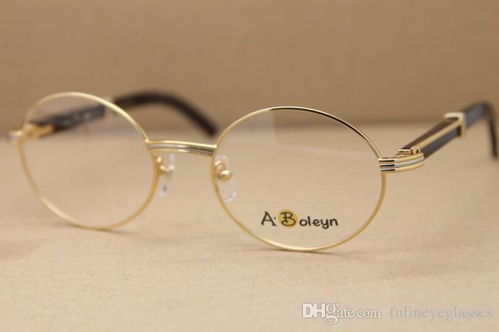 Wholesale Hot 7550178 Black Buffalo Horn Eyeglasses Round eye glasses frames for men C Decoration Glasses Unisex Frame Size:57-22-135mm