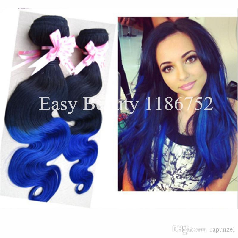 Blue Ombre Hair Weave Extensions Body Wave, Two Tone Color #1b/Blue  Brazilian Virgin Human Hair Natural Wigs Human Wigs From Rapunzel, $88.45|  Dhgate.Com