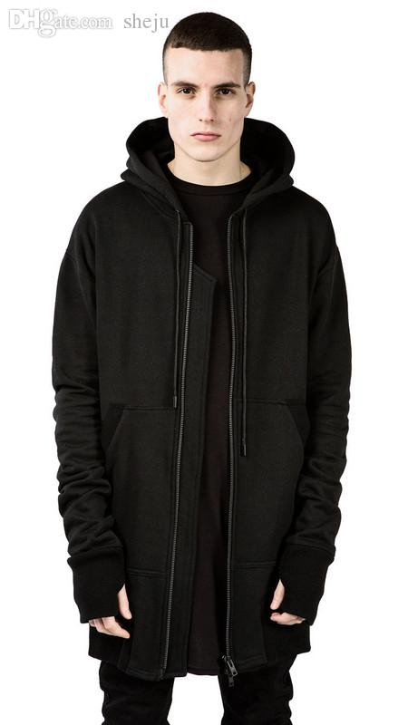 bf4a72764eab 2019 Wholesale 2XL Mens Designer Clothing Men Big And Tall 90s Fashion  Streetwear Hip Hop Jacket Sweat Black Long Extended Side Zipper Hoodie From  Xaviere