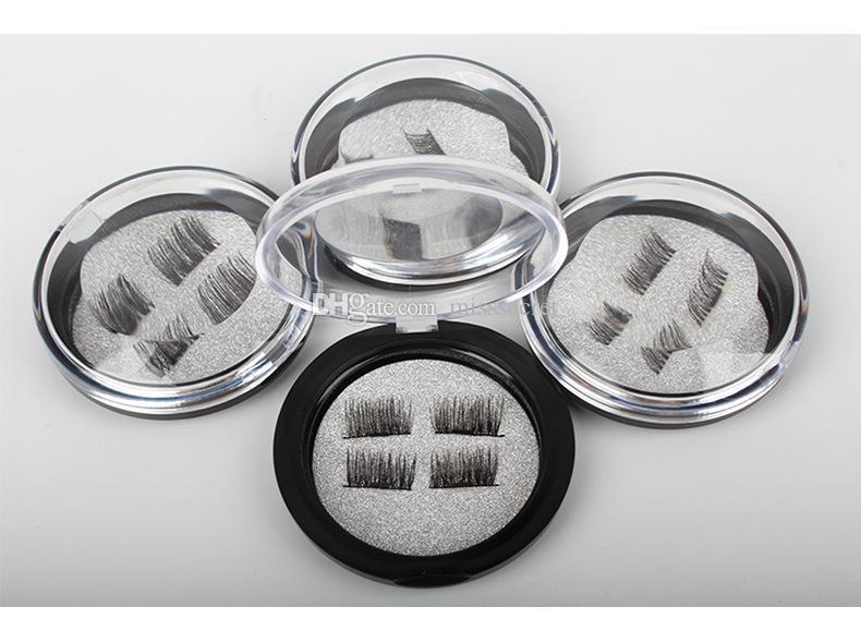 3D المغناطيسي رموش ثلاثة / ثنائي مغناطيسي الرموش الصناعية تمديد 3D الضفيرة كاملة قطاع رمش المغناطيسي وهمية ماكياج الرموش العين