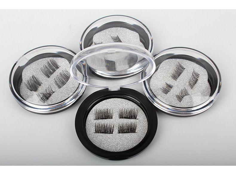 3D Magnetic Eye Lashes Three / Dual Magnetics False Eyelashes Extension 3D Curl Full Strip Eyelash Magnetic Fake Eyelashes Eye Makeup