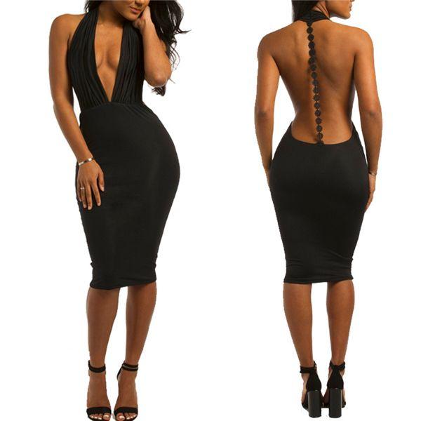 Abendkleid sexy tiefem V-Ausschnitt aushöhlen neues beiläufiges kleines schwarzes nobles Kleid reizvoller Charme tiefer V-Ausschnitt ärmelloses rückenfreies Verein-Partei-Kleid