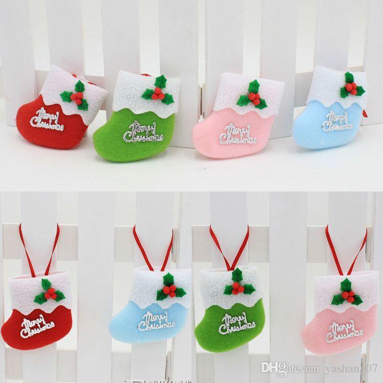 2017 hot Lovely socks for Christmas decorations Christmas tree decorations for Christmas ornaments