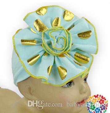 BEBÊ AMOUR folha de ouro flor impressão de algodão banda headband bebê coloridos Bebê hairband Headbands 19 cores