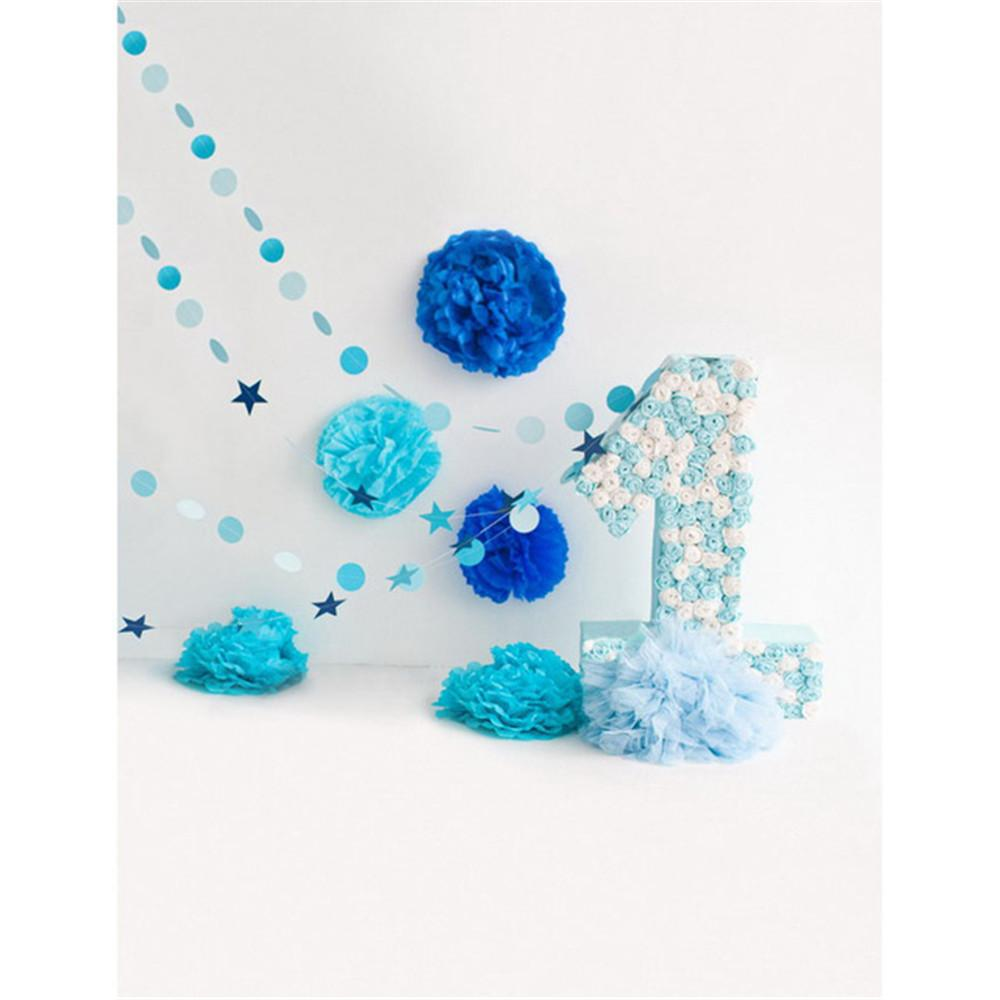 2018 happy birthday party photography booth backdrop blue flowers digital printed roses one year old celebration boy baby photo shoot background from