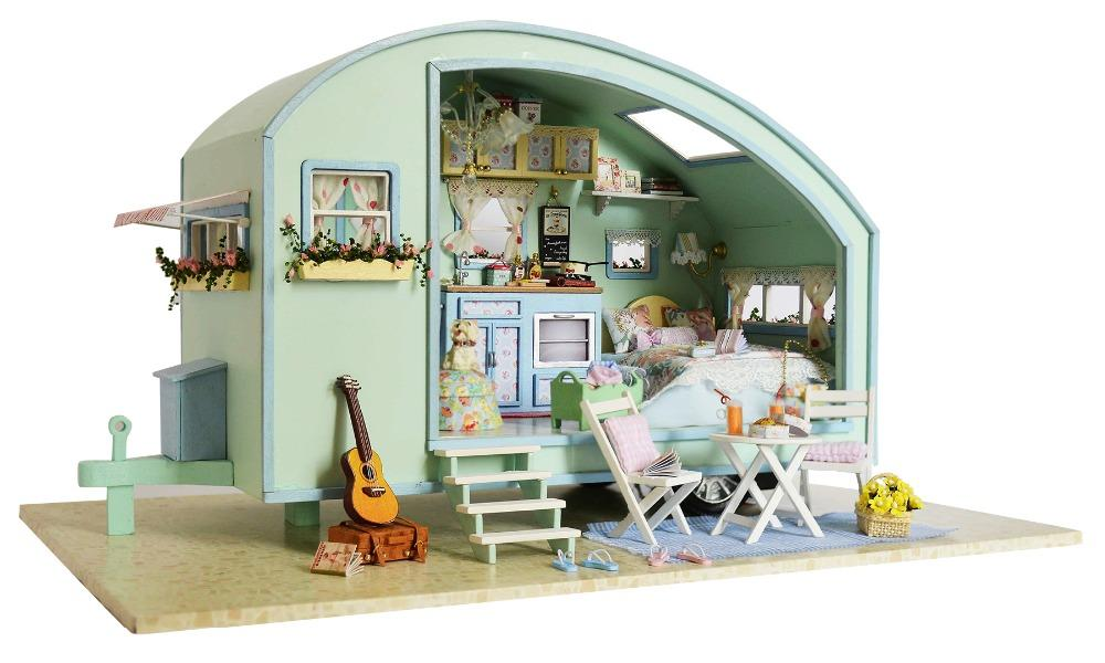 Diy Wooden Miniature Caravan Dollhouse 3d Doll House Kit Miniature