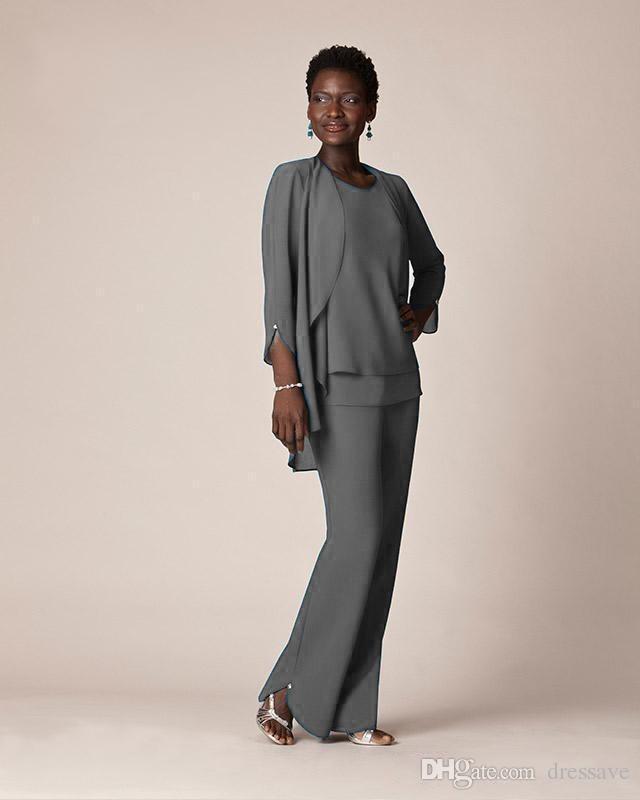 어머니 신랑 드레스에 대한 우아한 회색 쉬폰 공식 팬츠 정장 저녁 착용 긴 신부 드레스 재킷 플러스 크기 사용자 정의