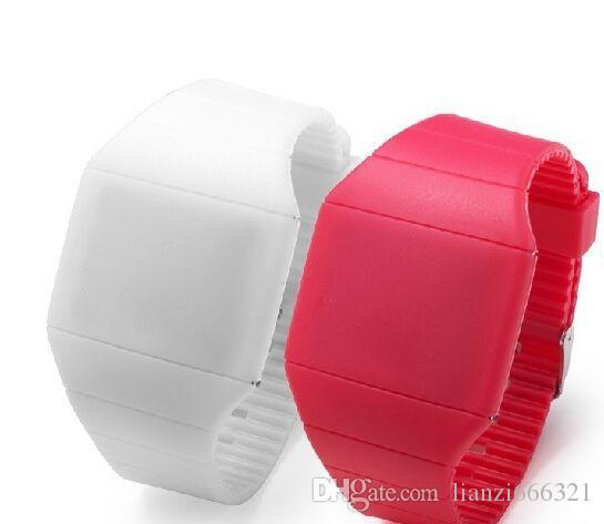 Hot selling new Colorful Soft Led kids Touch watch Jelly Candy silicone digital feeling screen watches, 1547