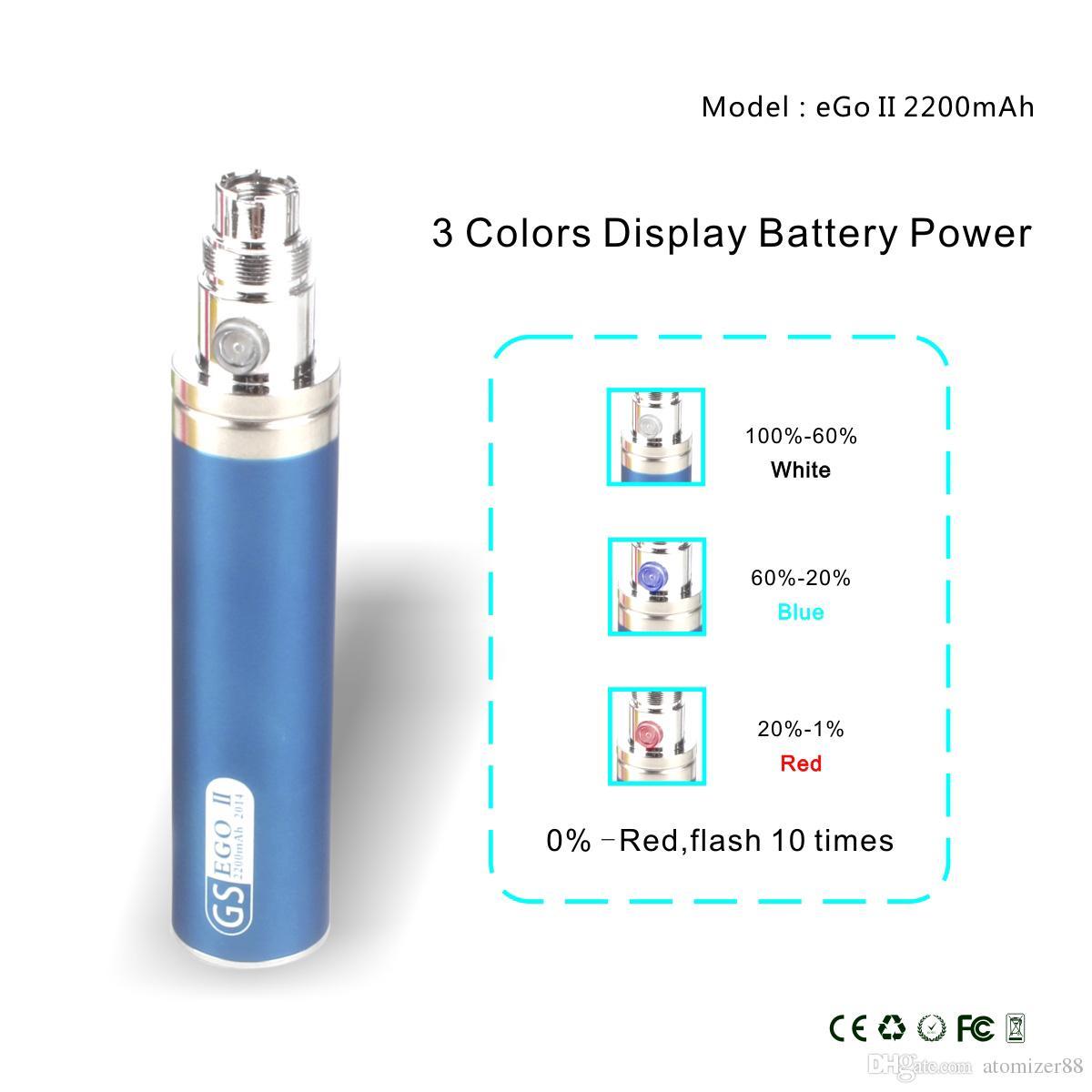GS ego battery EGO II 2200mah tiny body big capacity avaliable electronic cigarette wholesale DHL
