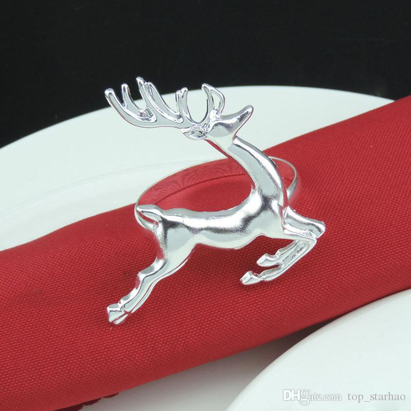 2017 New Christmas Deer Napkin Rings Silver/Gold Alloy Napkin Buckle Holder  Hotel Wedding Party Table Decoration Xl 345 Bronze Napkin Rings Brooch  Napkin ...