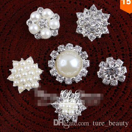 Скидка 5% 60 шт. / Лот 6 Стилей Горячая распродажа ручной работы металлический горный хрусталь Pearl Button Close Clinkback свадебные кнопки