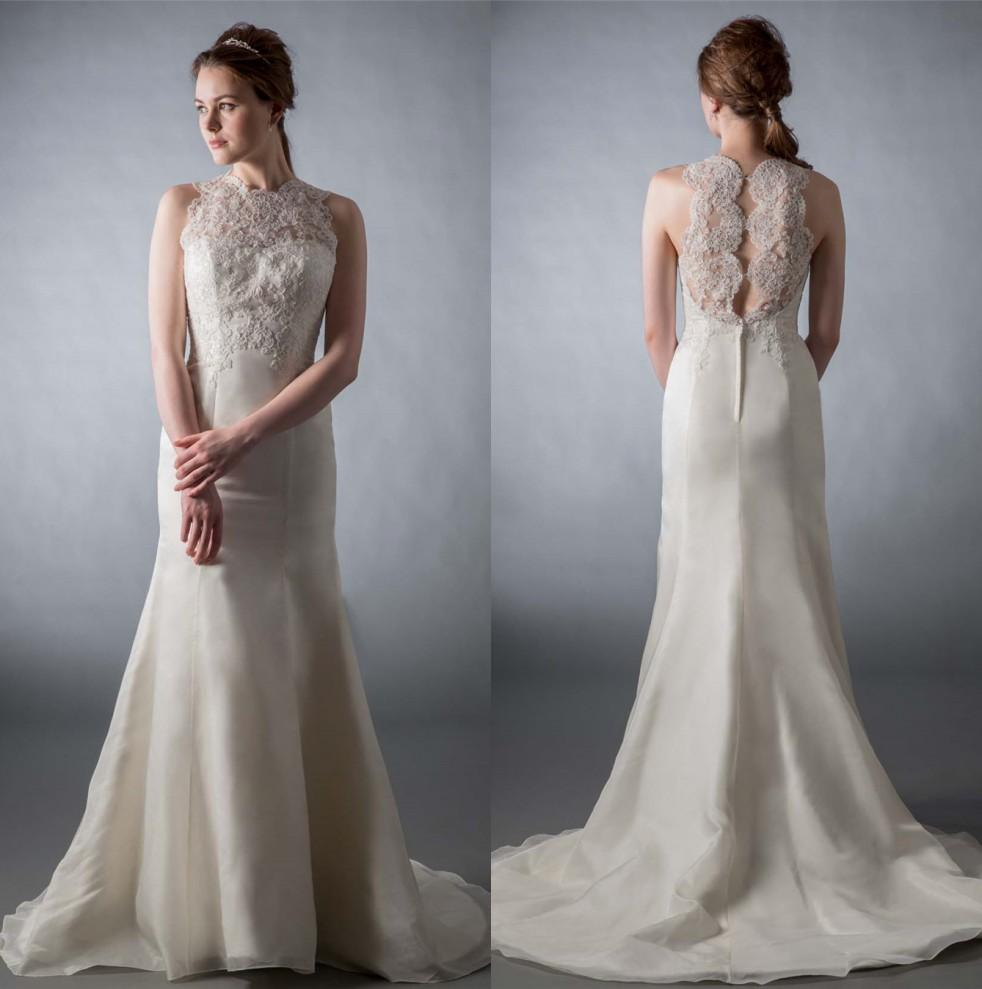 Unique Lace Mermaid Wedding Dresses Jewel Neck Sleeves
