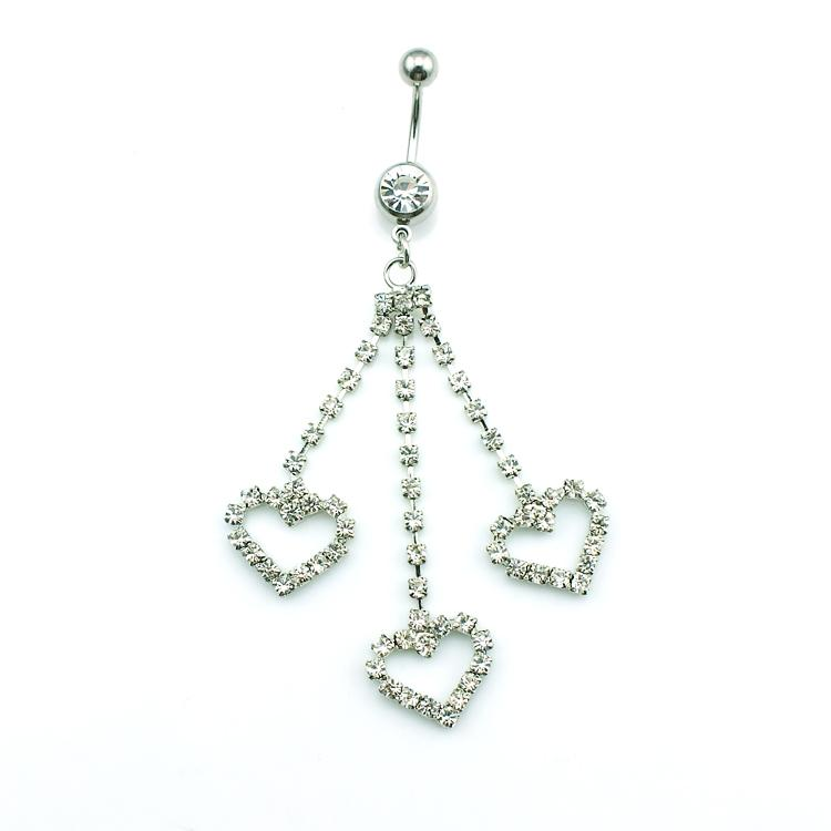 High Quantity Fashion Belly Button Rings Stainless Steel Dangle Three Rhinestone Heart Navel Body Piercing Jewelry