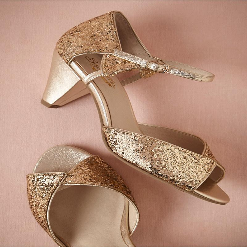 2015 Gold Wedding Shoes Soft Gold Leather Heels Bright