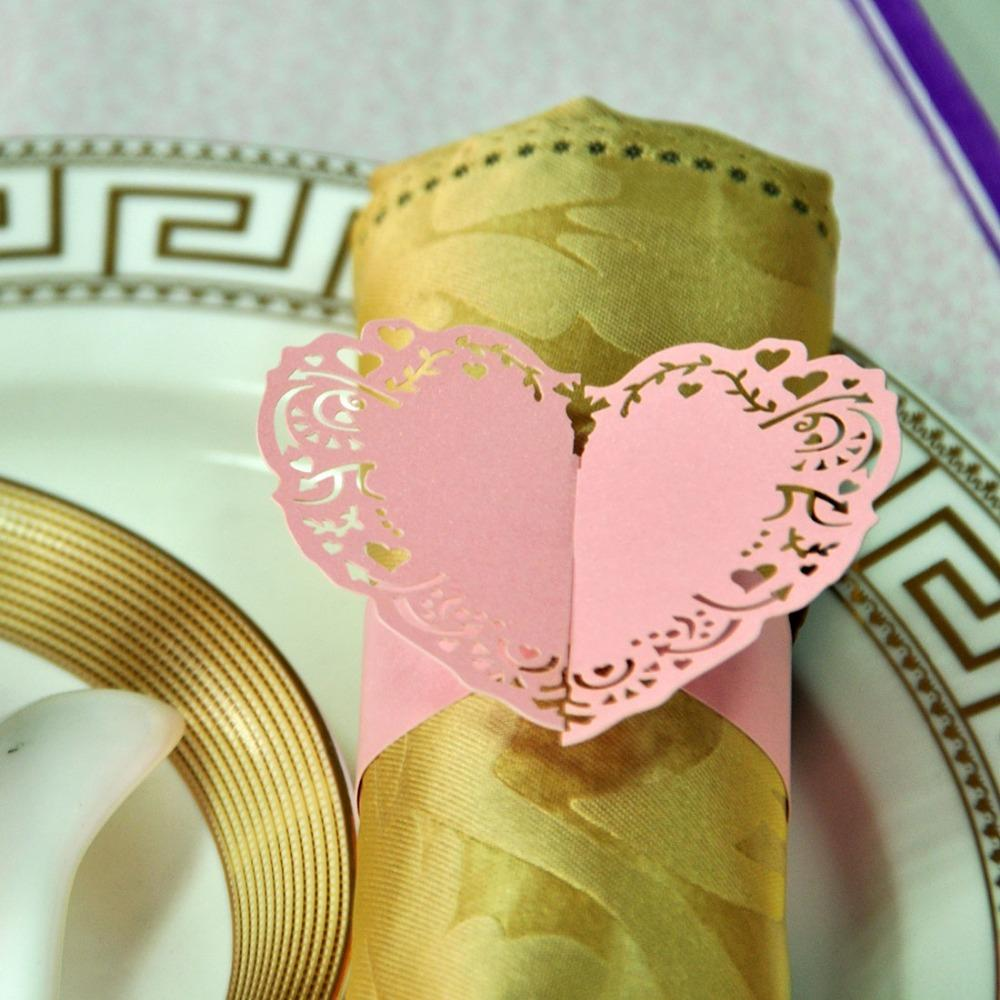 Towel Buckle Laser Cutting Heart Shape Wedding Decorations Napkin ...