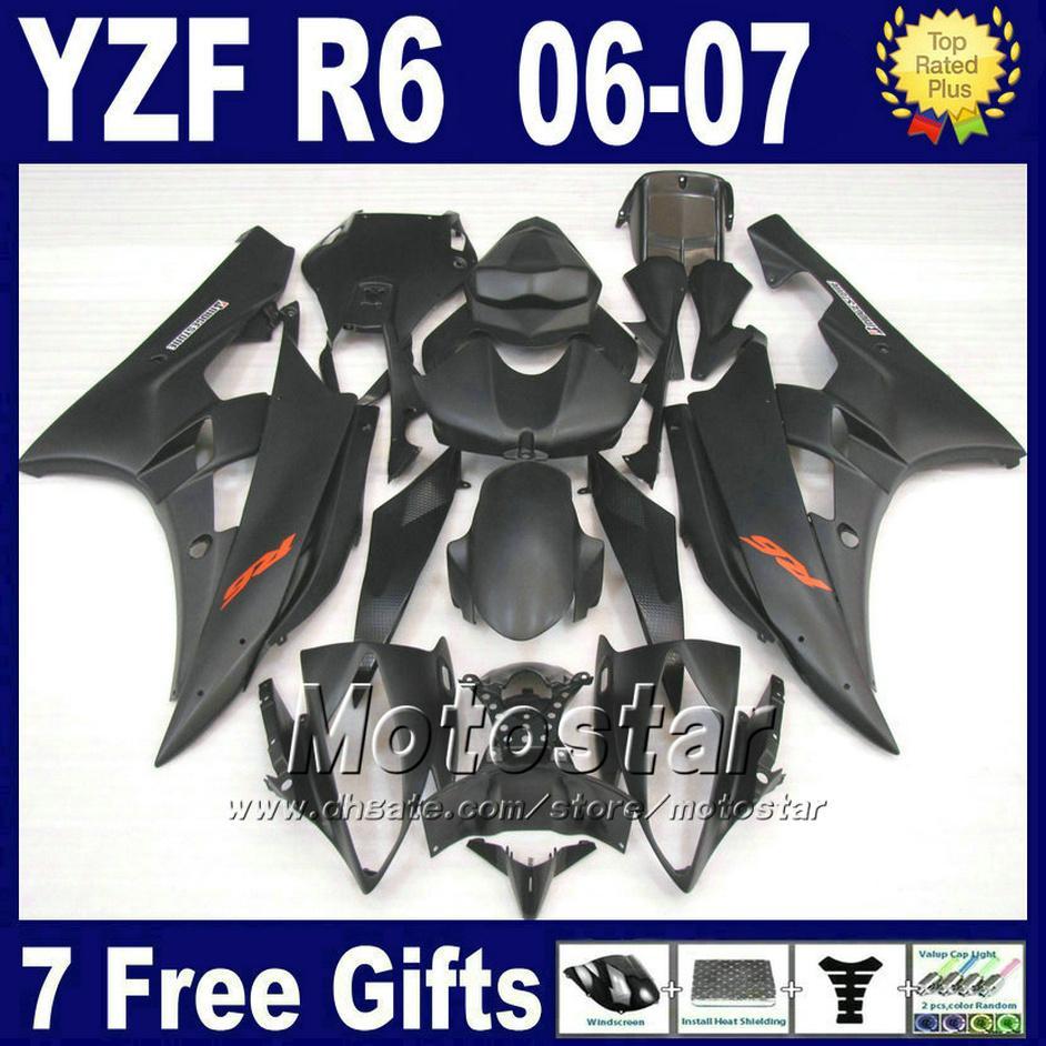 100 ٪ مجموعات صب حقن صب لعام 2006 2007 أجزاء ياماها R6 yzf r6 الأسود أجزاء fairings 06 07 JBFD
