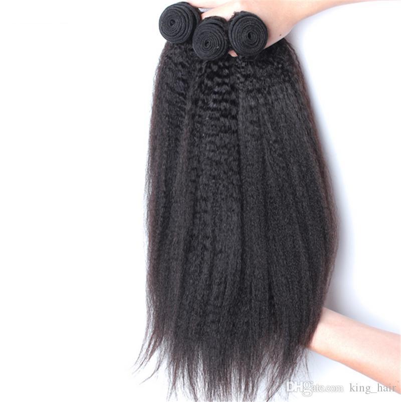 7A 브라질 킨키 스트레이트 버진 인간의 머리카락 3 묶음 100 % Carse Yaki 버진 인간의 머리카락 큰 주식 있음