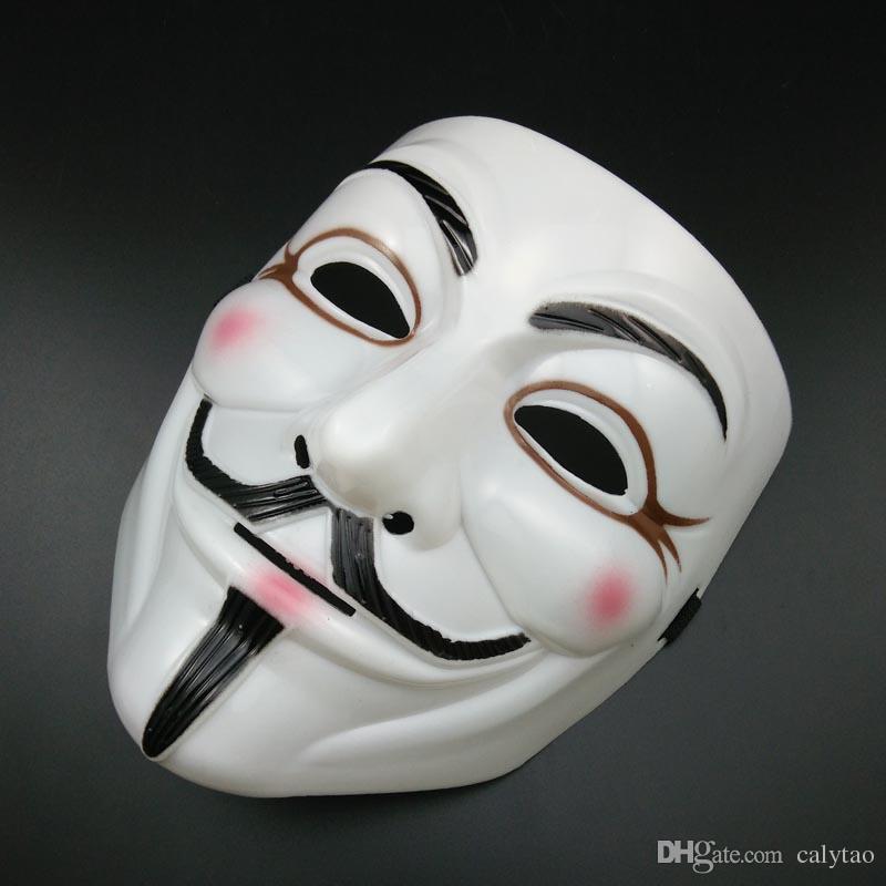 販売ホワイトVマスクハロウィーンマスクセクシーなまつ毛匿名ベンデッタパーティーマスク男のフォークスマスク全面ホラーマスクスーパー怖い