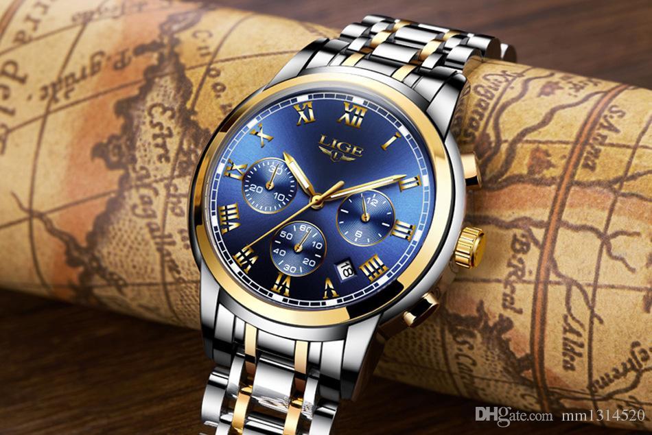 2020 neue Uhr Herren Marke LIGE Chronograph Herren-Sport-Uhr-wasserdichte Stahl Quarzherrenuhr Relogio Masculino
