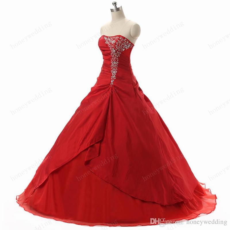 Elegante rood goedkope quinceanera jurken 2016 strapless met plooien ruches borduurwerk zoete 16 meisjes masquerade prom baljurken op voorraad