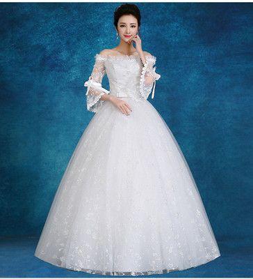 2018 Autumn Wedding Dress Tight Comfortable Sabtina Lace Up Back ...