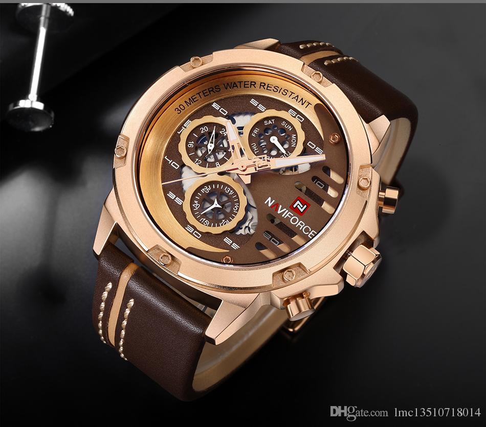 Orologi da uomo NAVIFORCE top brand di lusso impermeabile 24 ore data orologio al quarzo uomo orologio sportivo da polso in pelle da uomo impermeabile orologio