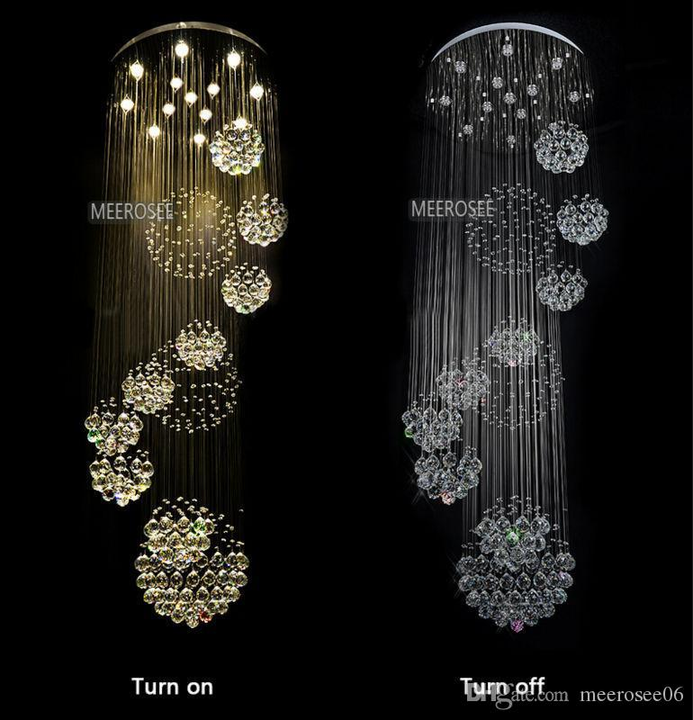 Modern chandelier large crystal chandelier light fixture for lobby staircase stairs foyer long spiral crystal light lustre ceiling lamp modern crystal