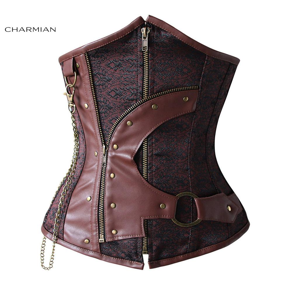 6c7d9041e14b1 2019 Gothic Steampunk Corset For Women Steel Boned Underbust Corset Old  Fashion Waist Trainer Corset With Zipper And Chains From Erindolly360c