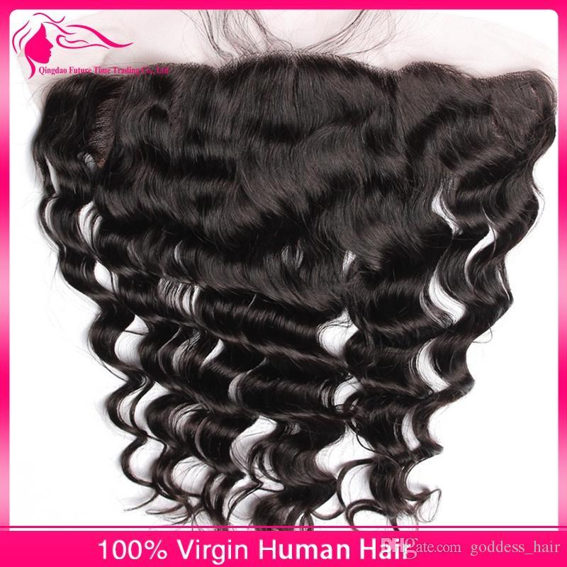 Peruano 8A Ola suelta Oreja A Oreja Frontales de encaje con paquetes / Paquetes de cabello humano con encaje Frontal parte libre