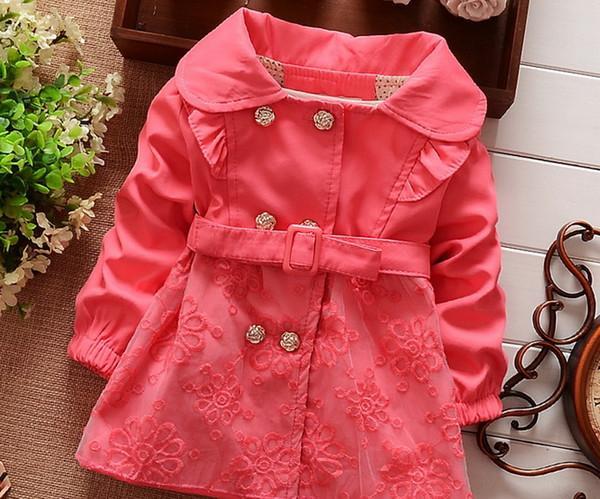 Vêtements pour enfants Enfant Manteau En Dentelle Et Ceinture Pour Enfants Vêtements De Coton Outwear Pour Vêtements Bébé Fille