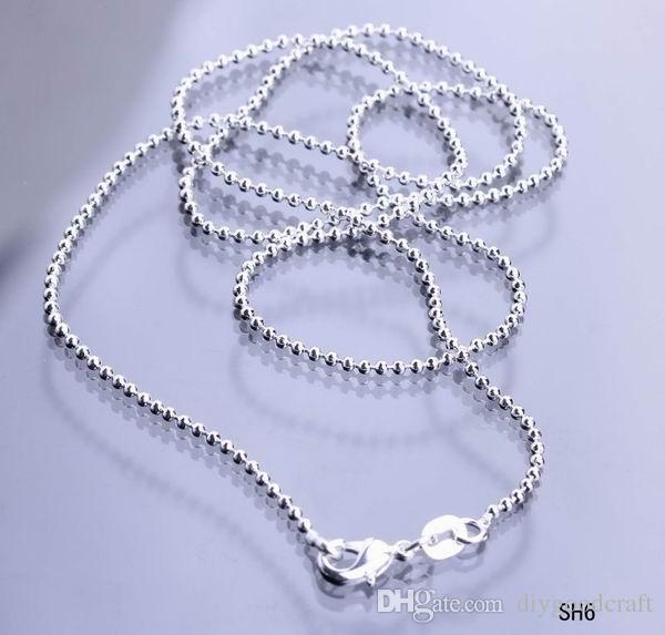50 stks / partij Solid 925 verzilverd sieraden ketting link ballen ketting met kreeft sluiting fit charme hangers sh6