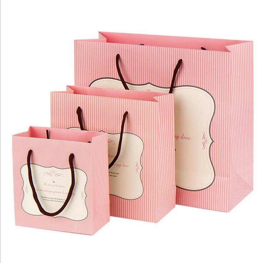 Fashion White Cardboard Gift Bags Korean Cute Pink Striped BirthdayWedding Party Gifts Bag Apparel Mask E027 Online Shopping With Wrapping