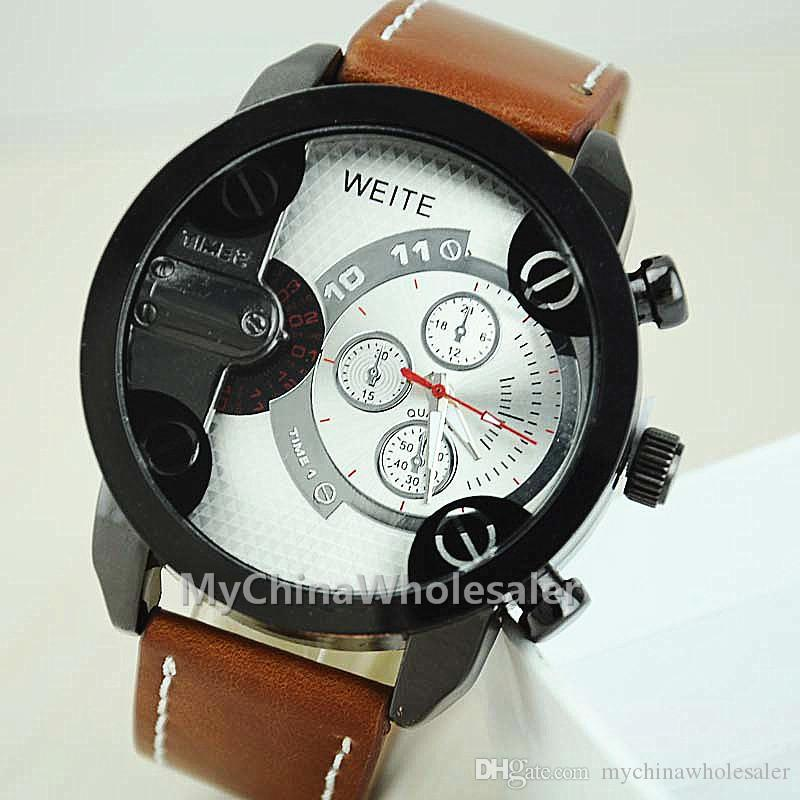 New arrival Men Sports Watches Big Dial with 3 small dial scaled PU leather WristBand Men Watches Wrist watches for Mens Watch