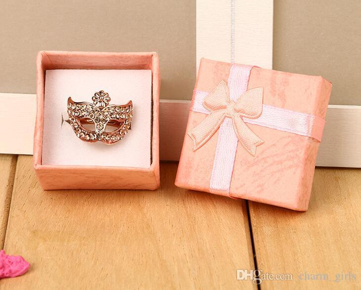 Joyero multi de los colores al por mayor del bolso del favor de la alta calidad, caja del anillo, caja de regalo del embalaje de la caja 4 * 4 * 3 de los pendientes