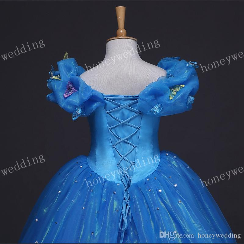 2019 Immagine reale Bambini Cosplay Cenerentola Dress Flower Girl Dresses Bambino Wedding Party Princess Ball Gown Girls Pageant Gowns Size 12