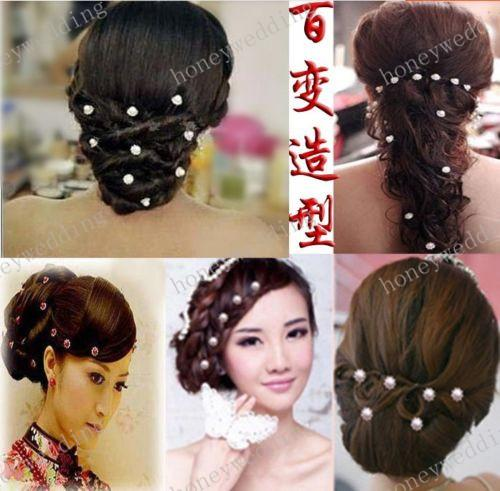 Bridal Hair Accessories Tiaras Hair Pins Lady's Rhinestone Bridal Wedding Flower Pearls Crystal Headband Hair Clip Pins