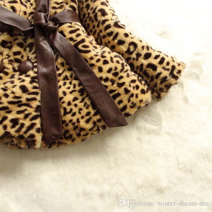 Capispalla caldo invernale bambine. Cintura a doppio petto. Vestiti imbottiti in cotone. Abbigliamento bambini. Cappotto bambina di grano leopardo D619L