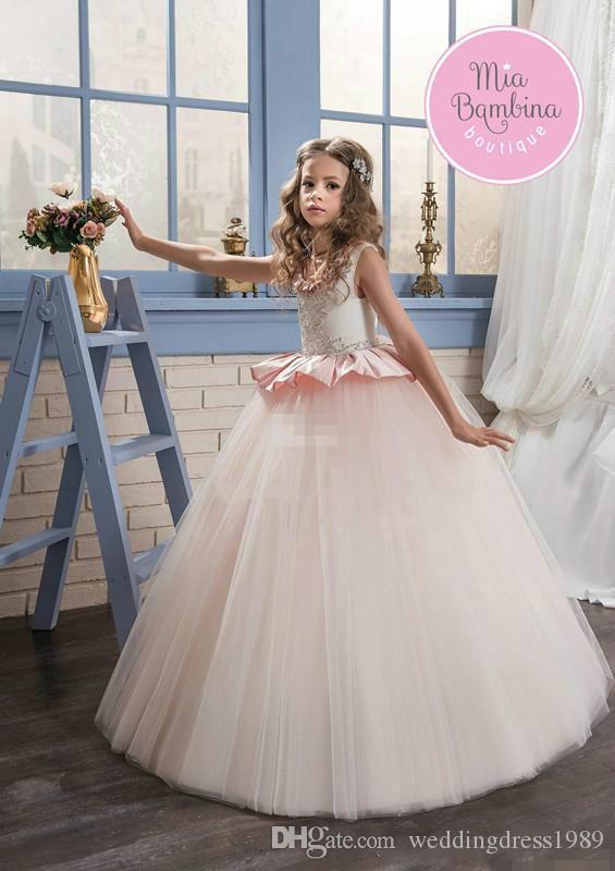 Modest Jewel Beads Mädchen Pageant Kleid Rüschen Tüll A-Line 2018 Mädchen Kommunion Kleid Kinder Formelle Kleidung Blume Mädchen Kleider für Hochzeit