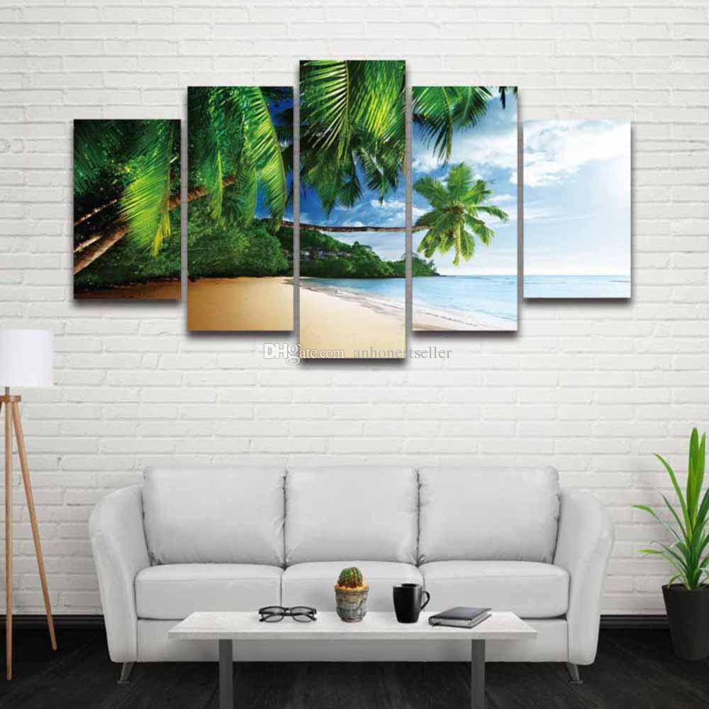 2018 5 Panel Canvas Wall Art Seascape Painting Scenery Landscape ...