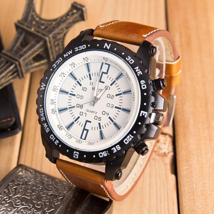 dc205bd05dc Luxus Business Leder Weite Herrenuhr Mode Sport Racing Uhren Analog Uhr  Herren Militäruhren Herren Lederband Sportuhr