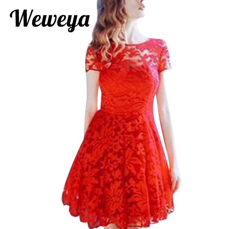 5d08eae507f6f 2019 Wholesale Weweya Women Floral Lace Dresses Short Sleeve Casual Soild  Color Blue Red Black White Party Mini Dress Plus Size 5XL Vestidos From  Genguo