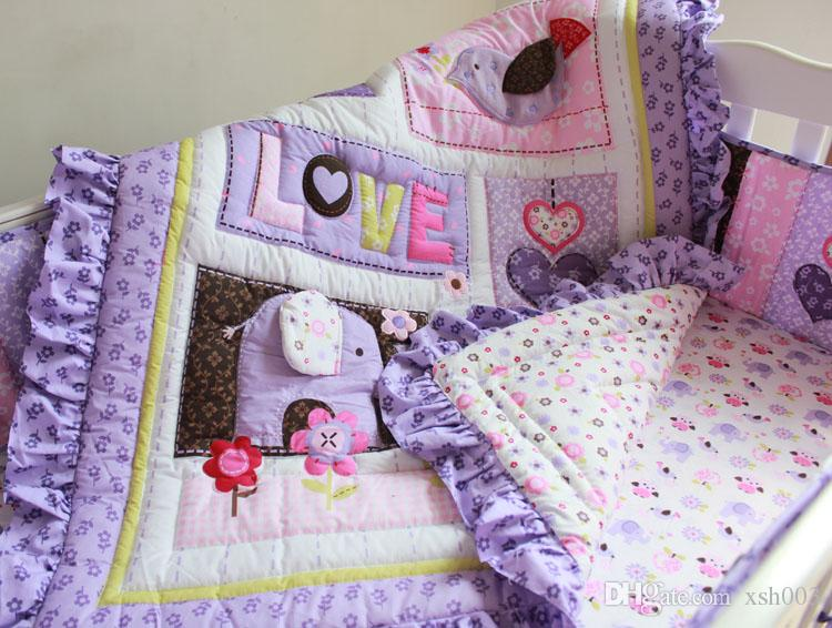 Baby bedding set Purple 3D Embroidery elephant owl Baby crib bedding set 100% cotton include Quilt Bumper Bed Skirt etc Cot bedding