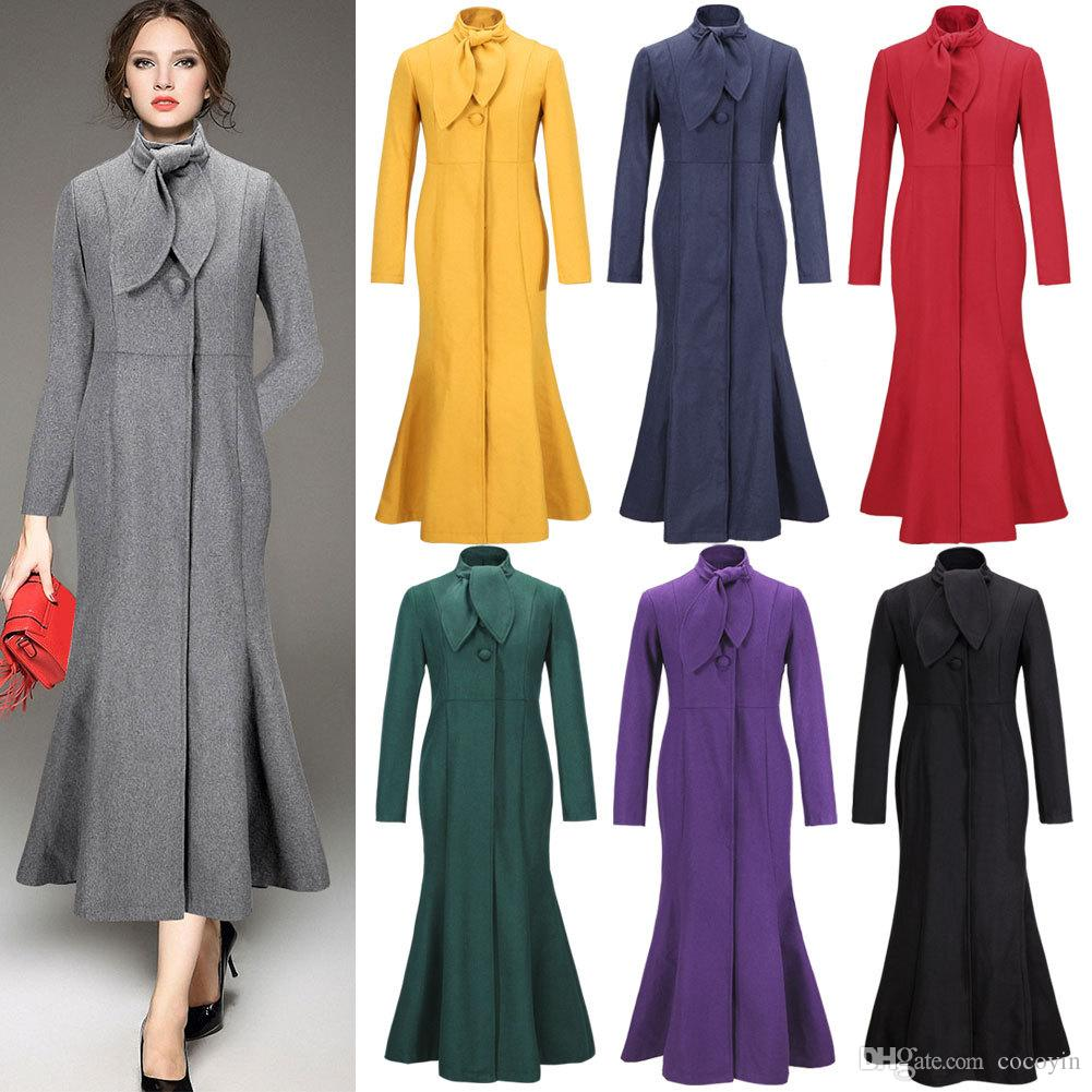 2017 2016 European New Spring Winter Coat Women Long Maxi Trench ...